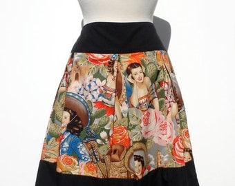 Plus Size Custom  Skirt Your Measurements/  Day of the Dead / Rockabilly/  / Senoritas  / Tattoo Art / Monsters / Frida