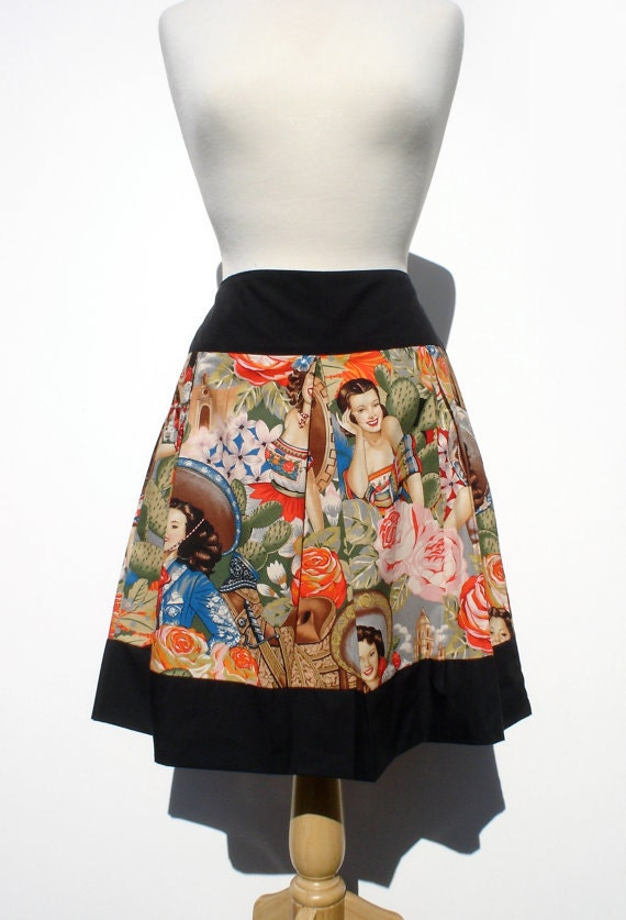 Custom  Skirt Your Measurements/  Day of the Dead / Rockabilly/  / Senoritas  / Tattoo Art / Monsters / Frida