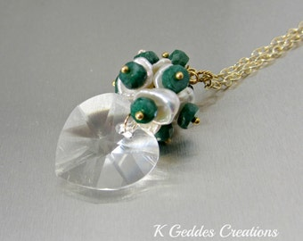 Swarovski Heart Pendant Emerald Gemstone Keishi pearl Sterling Silver Wire Wrapped Crystal Heart Valentines Day Necklace