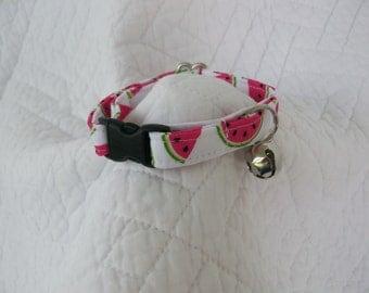 Watermelon Hot Pink and Lime Green Cat Collar  Breakaway Collar Custom Made