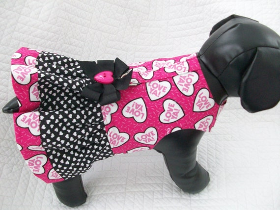 dog cat valentines day dress harness
