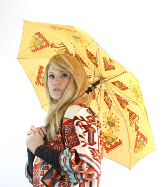 Vintage 80's Native American Style Umbrella Parisole