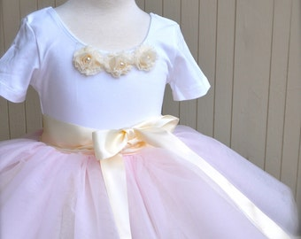 Pale pink fluffy tutu for girls. Flower Girl tutu short full hand sewn tulle skirt for toddlers. Your choice of colors.