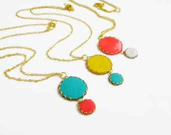Color Dot Pendant Necklace, Polymer Clay Necklace on Raw Brass, Bridesmaid Necklace