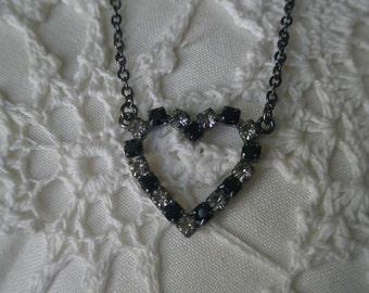 Vintage Heart & Soul Black and Smokey Rhinestone Heart Necklace