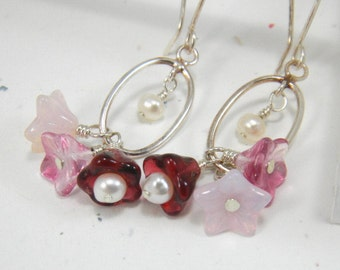Pink Chandelier Earrings, Red Earrings, Gift for her, Gift under 25, Silver Hoop Earrings, Flower Earrings, Pearls,  Dangle, Feminine
