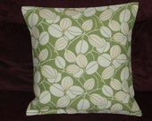 Throw Pillow Decorative Pillow Accent Pillow Cushion Covers Green Yellow Cream Leaves 16 x 16