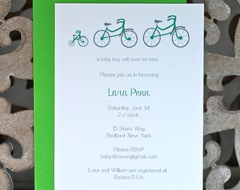 Baby Shower Invitation, Baby Shower, Bikes, Bicycle, Tricycle, Baby Shower Invites, New Baby, Gender Nuetral, Baby Announcements