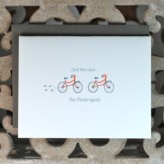 Wedding Thank You Cards / Thank you card set / Bicycle Wedding Theme - Head Over Wheels For You