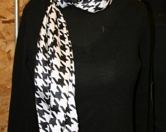 Black and White Classic Houndstooth Soft Satin Infinity Scarf