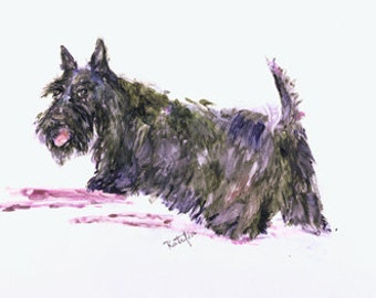 Scottish Terrier.  Scottie watercolor dog print signed by the artist Carol Ratafia double matted to16x20