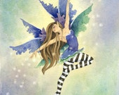 Fairy Art Print - Fairy Dancer - 5x7 - fantasy. watercolor. whimsical. for her. lovely. movement. magical. blue. purple. dancing.