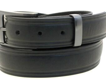 "American Made Men's 1 1/4"" Domed Dress Belt Black Latigo Leather Square Buckle And Loop Set With Satin Black Finish"