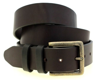 "Men Or Women's 1 1/2"" Dark Brown Latigo Leather Belt Double Loops Square Antique Brass Buckle Made In USA"