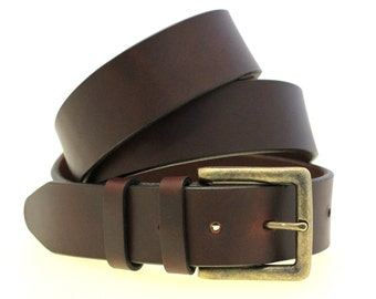 "Men Or Women's 1 1/2"" Chestnut Show Harness Leather Belt With Double Loops And Antique Brass Buckle Hand Crafted Made In America"