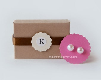 4 SETS  - Genuine pearl earrings in monogram gift box  wedding party - sterling silver bridesmaid gift basket - dutchpearl - jewelry