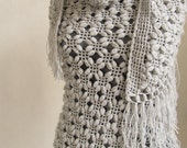 Crochet Shawl // Gray Shawl // Winter accessories // Shrug // Bride accessories /Bridal Shrug / Bridal Bolero / Silver Glitter Shawl