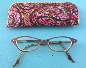 Vintage 1950's-1960's YUNIKU Librarian Granny Horn Rim Eyeglass Frames with Case