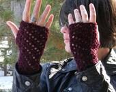 Cozy in Claret Crocheted Lacy Fingerless Gloves