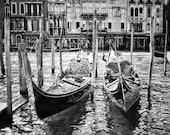 Fine Art photography, Venice, Italy, gondolas, black and white, 8x10