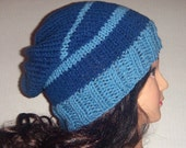 Mens Knit Hat, Blue and Light Blue Hat, Team Beanie Hat, Mens Accessories, Womans Accessories, Baggy Hat, Crochetknit30, made to order