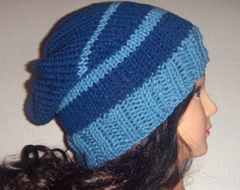Blue and Light Blue Knit Slouchy Beanie Striped Hat