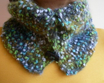 Wool Cowl with Buttons , Women Neckwarmer in Teal Blue Green Gray