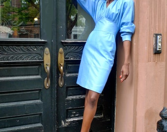 Vintage 80s Blue Dress-Michael Hoban North Beach Leather- Free Shipping USA