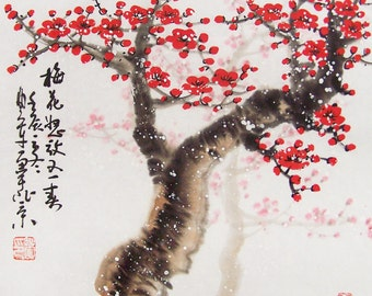 Cherry Blossom paintings Original  chinese  painting oriental art watercolour-Lovely cherry blossom tree No.85