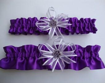 Purple Satin Wedding Garter Set with Rhinestone Deco