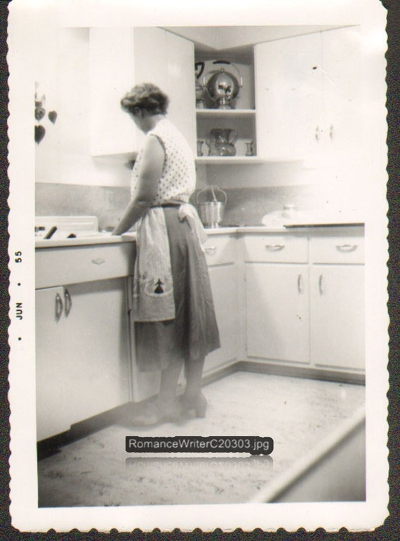 Washing Dishes Vintage Photo Young Woman Apron Around Waist-6688