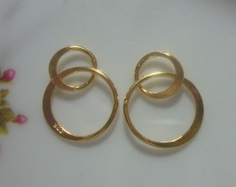 Infinity Link, Infinity Connector, 18K Gold over Sterling Silver Handcrafted,13x20mm, 2 circles Link - 2 pcs