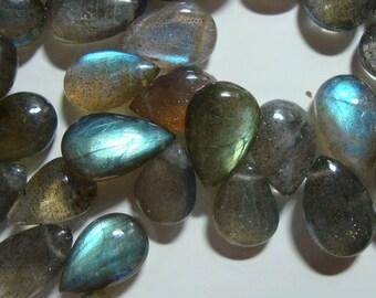Flashing Fiery Blue Green LABRADORITE Smooth Pear Briolettes - 11.5-12mm, 1/2 strand - A20-1