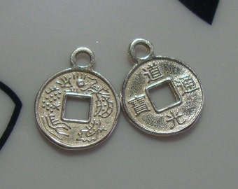 Handmade 925 Sterling Silver Casted Chinese Ancient Coin Charm, Bulk 6 pcs - Bright Silver