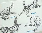 Letterpress Cat card - Meow Meow