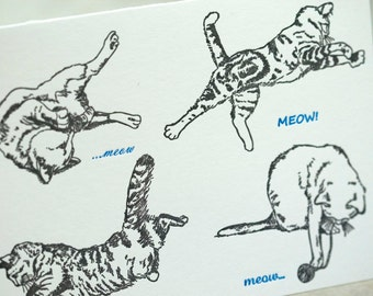 SALE - Letterpress Cat card - Meow Meow - 60% off