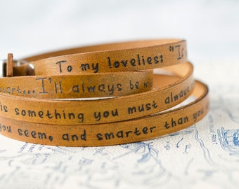 To My Lovelies, Winnie the Pooh Ultra Long Leather Wrap Bracelet Leather Stacking Bracelet, Leather Cuff Bracelet, Triple Wrap Bracelet