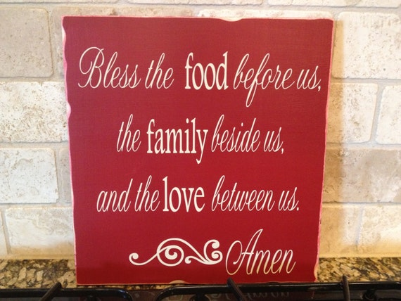 Bless The Food Before Us Wood Sign Kitchen Sign Kitchen