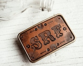 Leather Belt Buckle - Unisex hand tooled customized - leather and antique brass - choice of stain color and initials