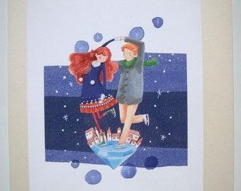 Ice Skate decor print for Children's room - Diamond Night