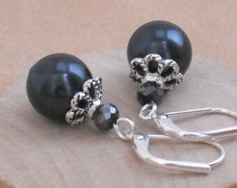 Earrings Classic Black Pearl and Crystal Silver Leverback Earrings
