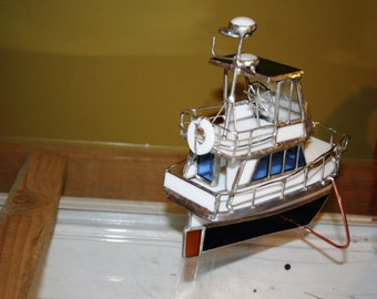 Custom Stained GlassTrawler Model Boat