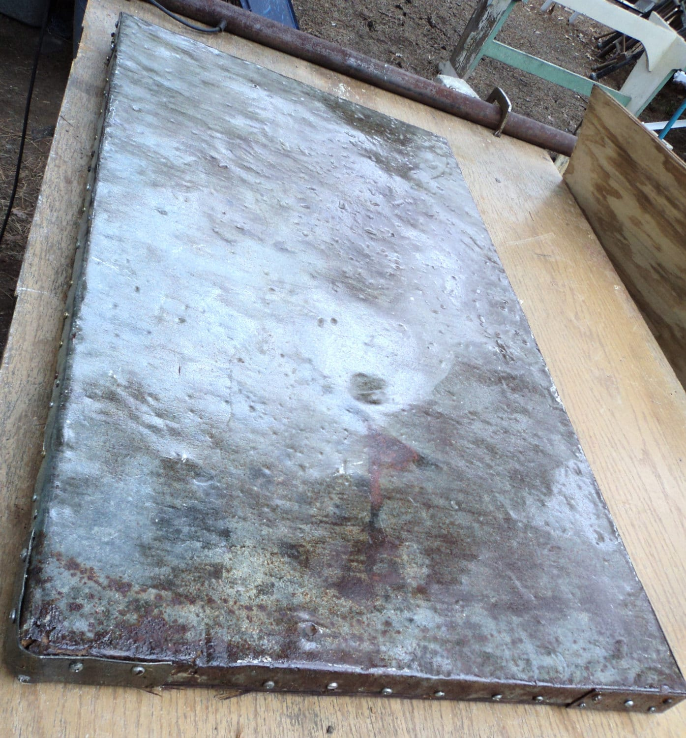Vintage Rustic Weathered 38 X 21 Galvanized Metal Table Top