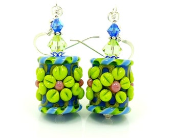 Blue Lime Floral Earrings, Barrel Earrings, Lampwork Earrings, Glass Earrings, Glass Bead Earrings, Flower Earrings, Beadwork Earrings
