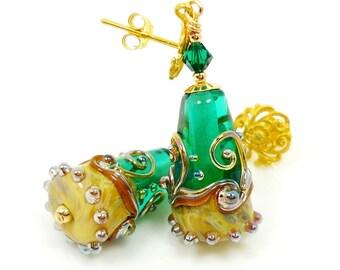 Green Earrings, Lampwork Earrings, Glass Earrings, Glass Bead Earrings, Gold Dangle Earrings, Beadwork Earrings, Post Earrings, Cone Earring