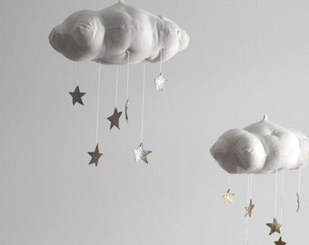 Silver Star Cloud Mobile- modern fabric sculpture for baby nursery decor in white linen and metallic faux silver leather- Free US Shipping