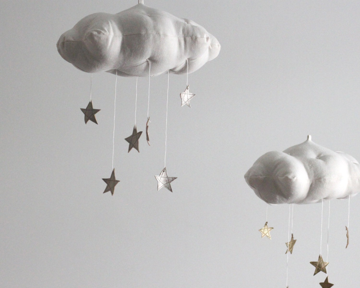 Silver Star Cloud Mobile Modern Fabric Sculpture For Baby