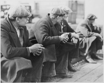 Vintage image of men sitting on curb Depression 1934 New York,  suitable for framing.