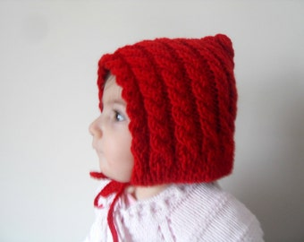 SALE Red Hooded Girl Hat, Knitted Baby Hat,Red Hat,Chunky Hat,Beanie,Baby Girl Hat