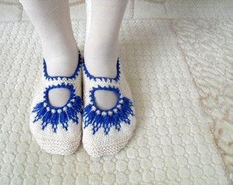 SALE Women socks, Handmade Slippers, Turkish Knitted Slippers, Authentic footwear, Stylish foot wear, White Marine BlueSlippers